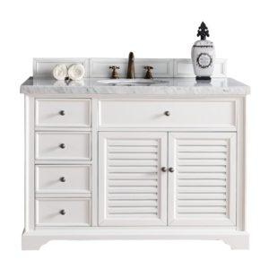 "Savannah 48"" Cottage White Single Vanity with 4 CM Carrara White Marble Top"