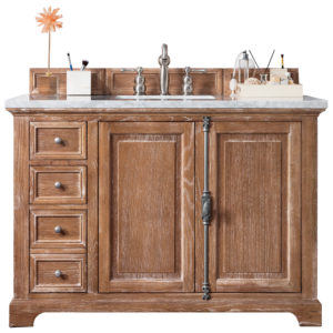"""Providence 48"""" Driftwood Single Vanity with 3 CM Carrara Marble Top"""