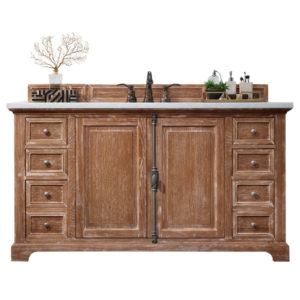 """Providence 60"""" Driftwood Single Vanity with 3 CM Arctic Fall Solid Surface Top"""