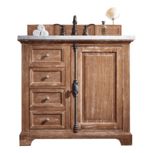 """Providence 36"""" Driftwood Single Vanity with 3 CM Carrara Marble Top"""