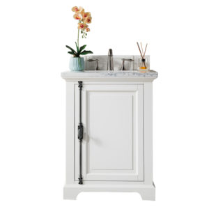 "Providence 26"" Cottage White Single Vanity with 3 CM Arctic Fall Solid Surface Top"