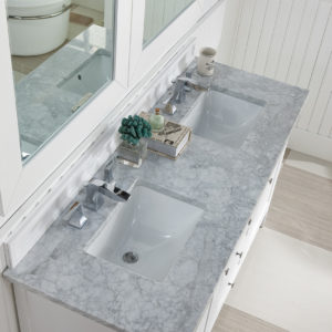 Bright White with 3 CM Carrara Marble Top