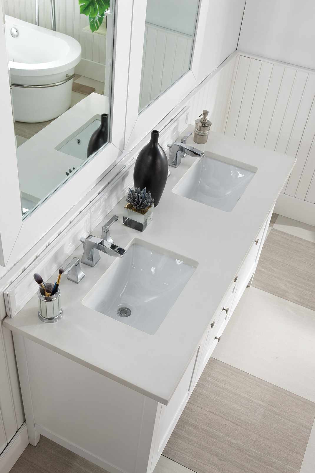 Palisades 60 Double Vanity Bright White With 3 Cm Snow White