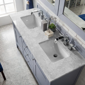 Silver Gray with 3 CM Carrara Marble Top