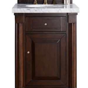 "New Haven 26"" Burnished Mahogany Single Vanity with 4 CM Carrara White Stone Top"