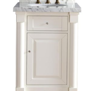 "New Haven 26"" Cottage White Single Vanity with 4 CM Carrara White Stone Top"