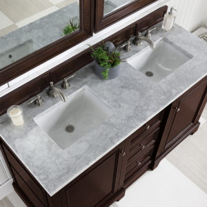 Burnished Mahogany with 3 CM Carrara Marble Top