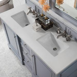 Silver Gray with 3 CM Snow White Quartz Top