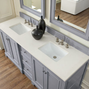 Silver Gray with 3 CM Snow White Quartz Top