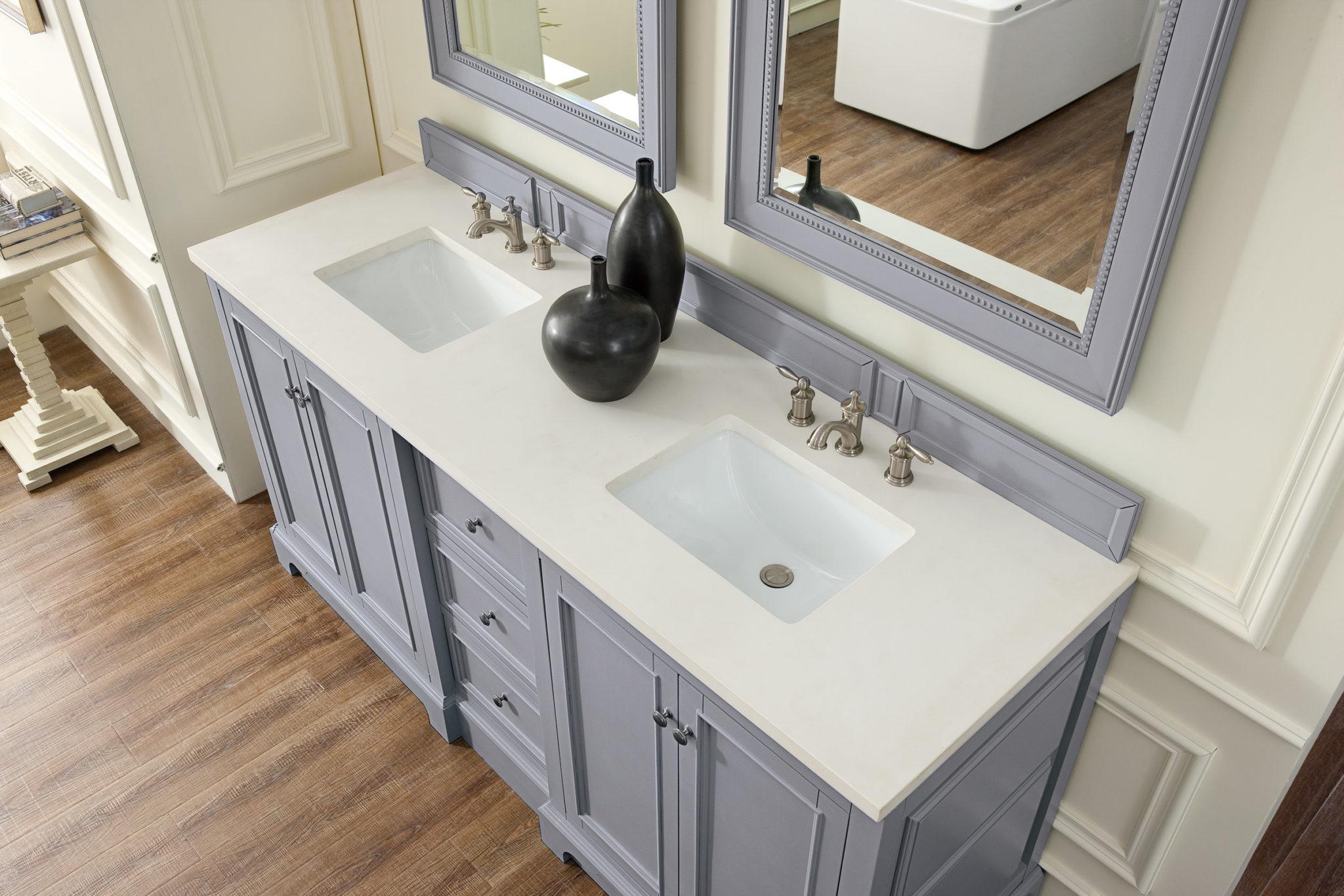 De Soto 72 Double Vanity Silver Gray With 3 Cm Snow White Quartz