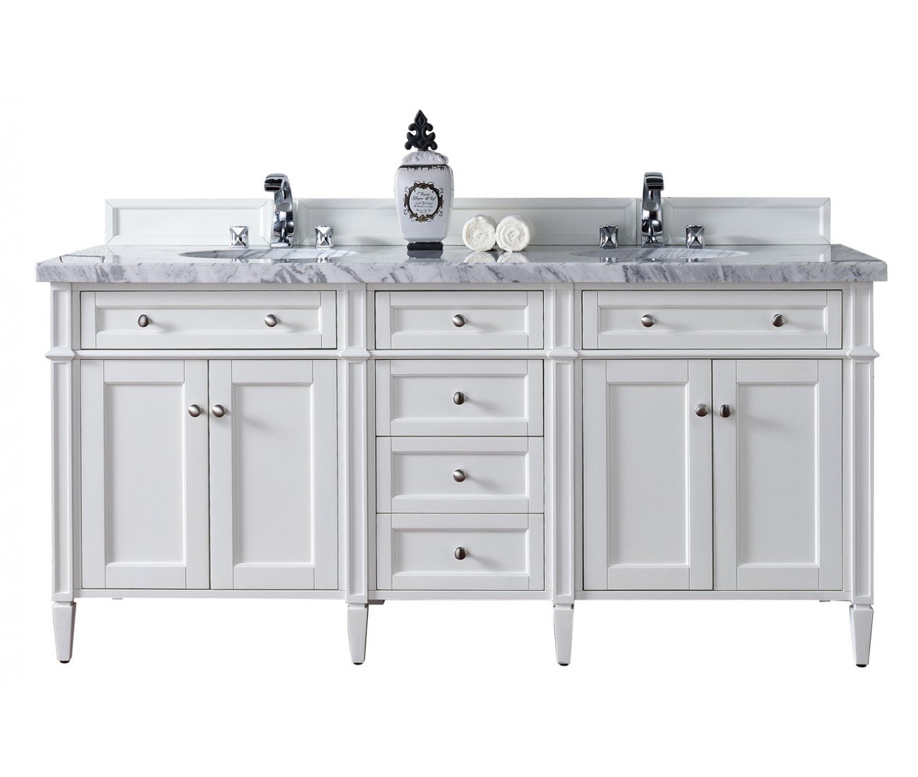 72 Brittany Double Vanity Cottage White Cabinet Joint