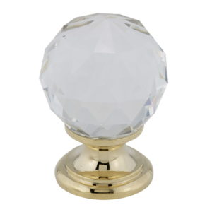 Traditional Crystal and Brass Knob - 9993