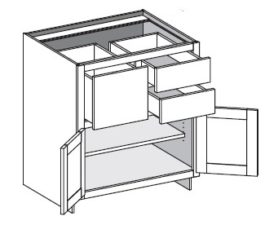 Base Combo Three Drawer Left or Right w/Butt Doors
