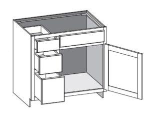 Vanity Combo 3 Drawer Left