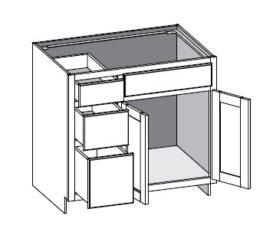 Vanity Combo 3 Drawer Left w/Butt Doors