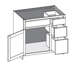 Vanity Combo 3 Drawer Right