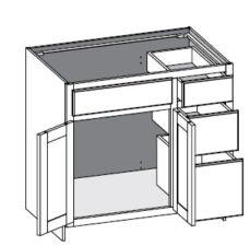 Vanity Combo 3 Drawer Right w/Butt Doors