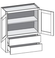 Wall Cabinet w/2 Drawers – Butt Doors