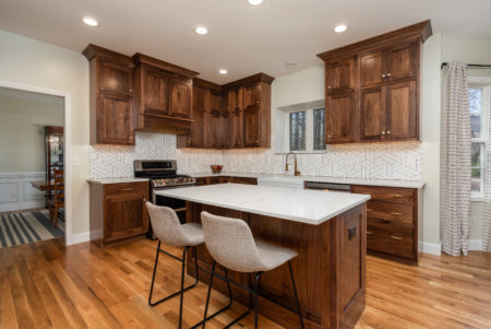 Beaded Inset, Albany doors/drawers, Top drawers slab, Crown 2618, & Natural Walnut 40% sheen