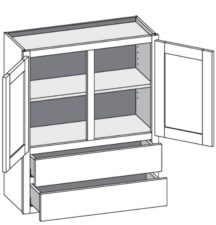 Wall Cabinet w/2 Drawers – Double Doors