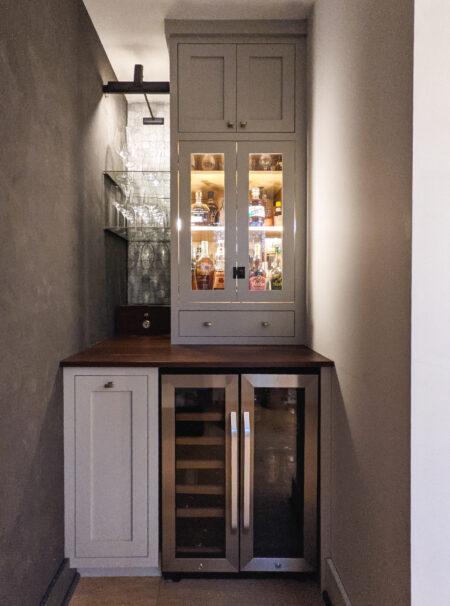 Avalanche Design Co's Beverage Bar Flush Inset, 10 SQF2 Doors Slab Drawer, Hearthstone Grey, 2.5