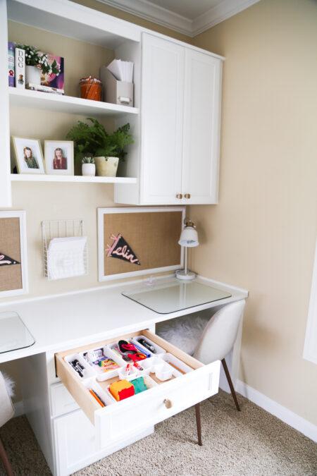 Simply September Desk Space Full Overlay CRP-10 CPF2 Reg Bead, Matching Drawer, Molding 619 & 2670, Designer White